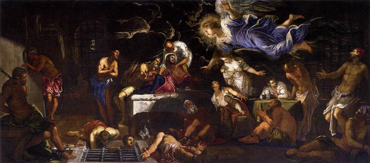 St Roch in Prison Visited by an Angel, 1567 - Tintoretto