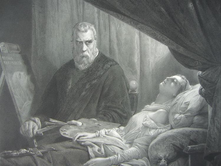 Tintoretto at the deathbed of his daughter - Tintoretto