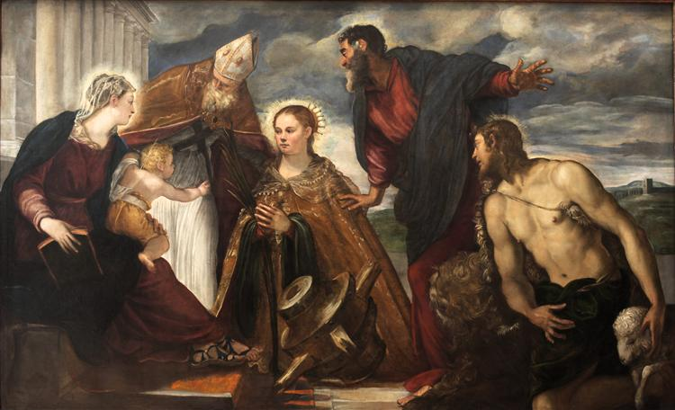 Virgin and Child with Saint Catherine, Saint Augustine, Saint Marc and Saint John the Baptist, c.1549 - 1550 - Tintoretto