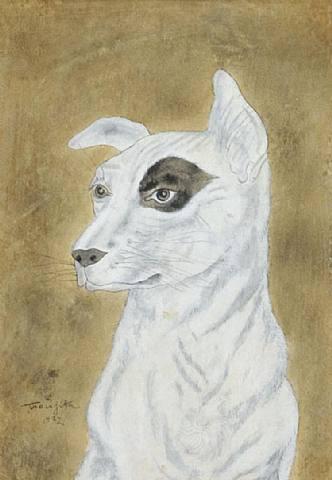 White dog, dark circle around one eye - Tsuguharu Foujita