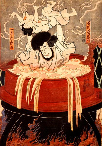 Goemon Ishikawa and his son Goroichi - Utagawa Kunisada