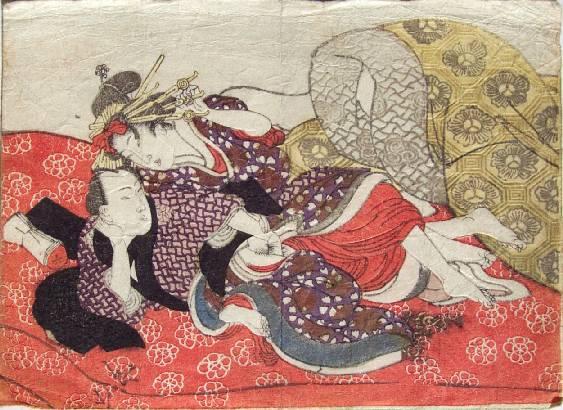 Foreplay on a Red Futon, 1835 - Utagawa Kunisada