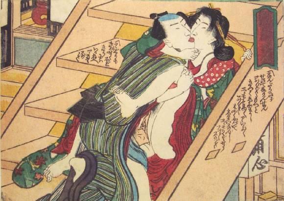 On the Stairs, c.1835 - Utagawa Kunisada