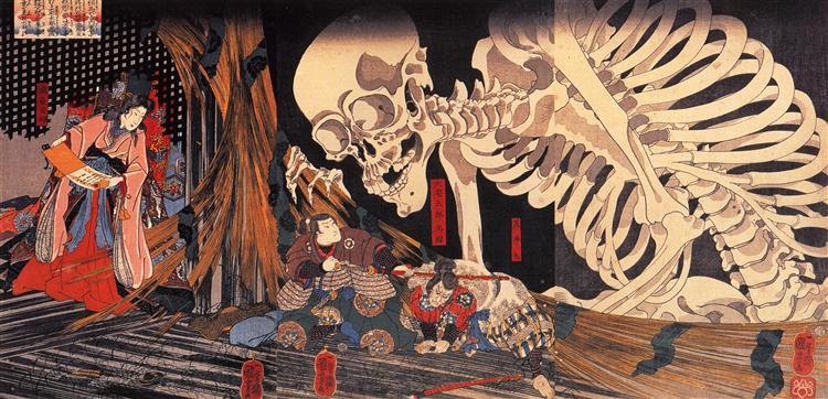 Mitsukuni Defying the Skeleton Spectre Invoked by Princess Takiyasha, 1845 - Утагава Куниёси