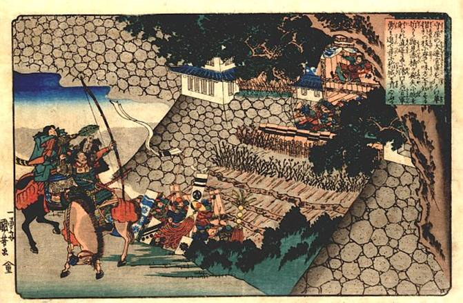 Prince Shôtoku directing the attack on Moriya's castle, 1840 - Утагава Куниёси