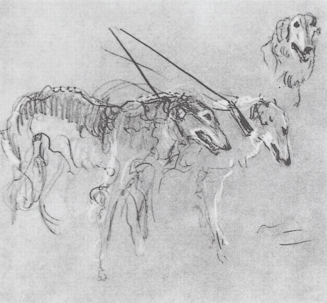 Greyhounds royal hunting, 1900 - 1901 - Valentin Serov