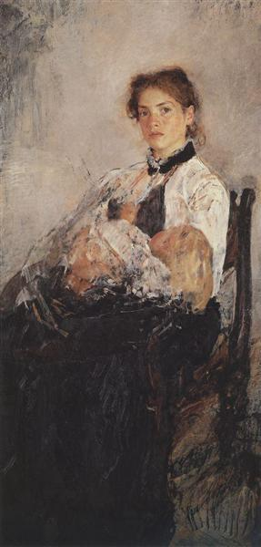 Portrait of Nadezhda Derviz with Her Child, 1888 - 1889 - Valentin Serov