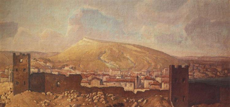 View of Feodosia from Quarantine to the ruins of the Genoese fortress, 1912 - Vassili Polenov