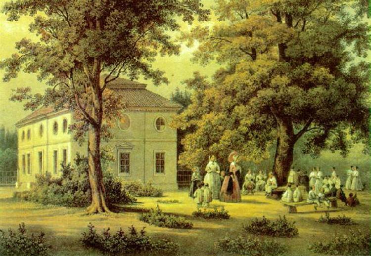 School for Peasants Children in Verkiai, 1848 - Vasily Sadovnikov