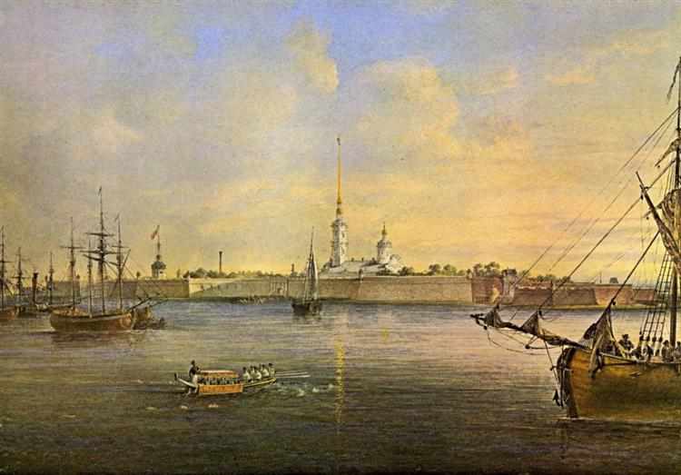 View of the Neva and the Peter and Paul fortress, 1847 - Vasily Sadovnikov