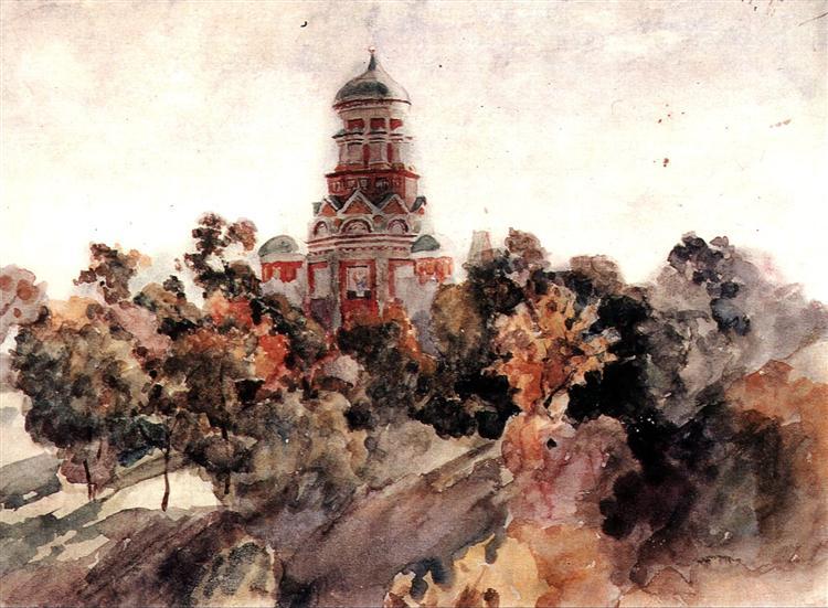 Church in the village Dyakovo, c.1913 - Vasily Surikov