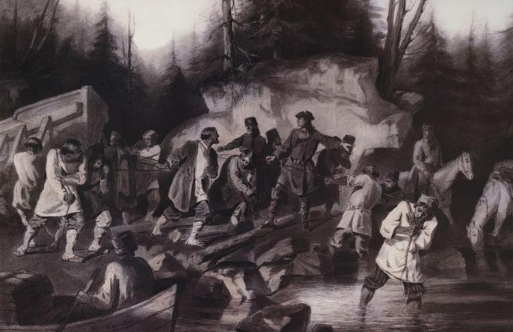 Peter I drags ships from the Onega Bay in Lake Onega in 1702, 1872 - Vasily Surikov