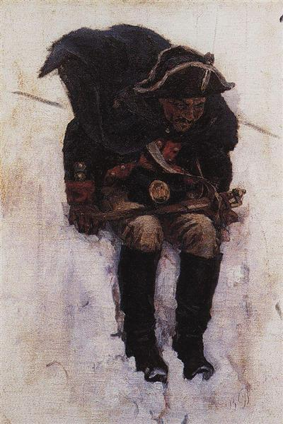 Soldier descending from the snowy mountain, 1898 - Vasily Surikov