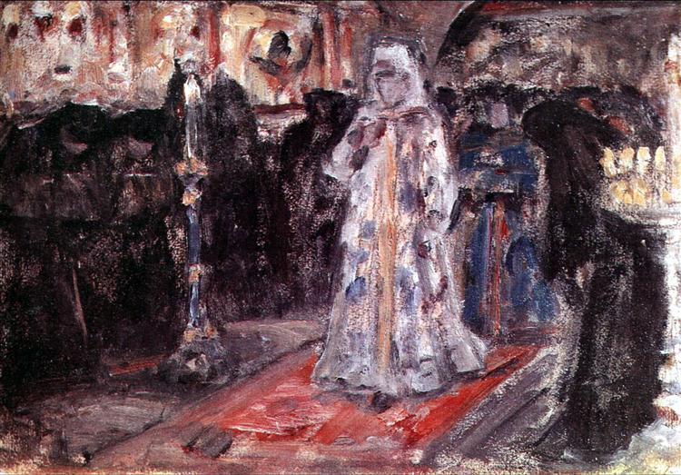 "Study to ""Tsarevna's visit of nunnery"" - Vasily Surikov"