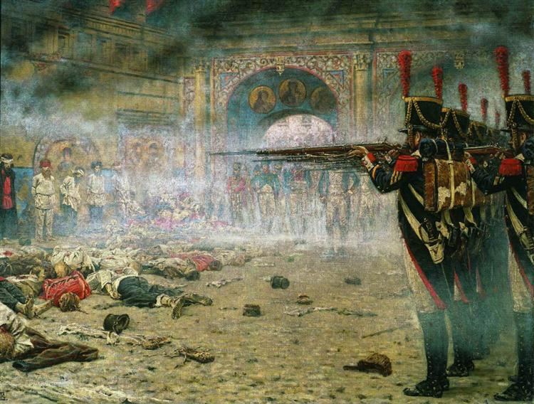 In Defeated Moscow ( Arsonists or Shooting in the Kremlin), 1897 - 1898 - Vasily Vereshchagin
