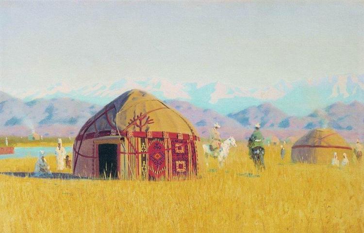Kyrgyz tent on the Chu River, 1869 - 1870 - Vasily Vereshchagin