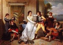 Dona Filipa de Vilhena knighting her sons - Vieira Portuense