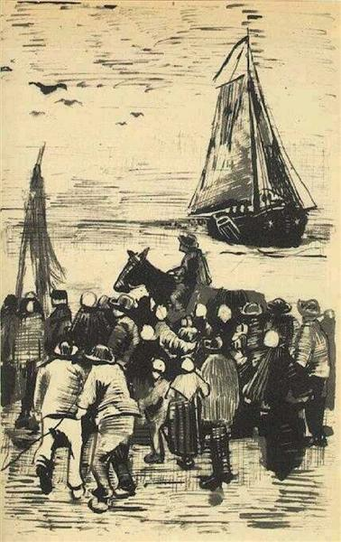 Group of People on the Beach with Fishing Boat Arriving, 1882 - Vincent van Gogh
