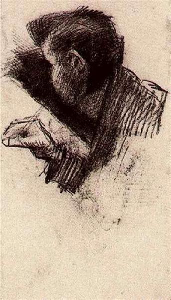 Man Drawing Or Writing 1886 Vincent Van Gogh Wikiart Org