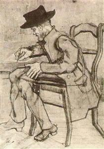 Man Writing Facing Left - Vincent van Gogh