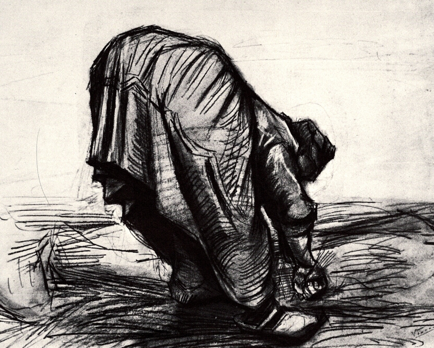 Peasant Woman, Stooping, Seen from the Back by Vincent Van