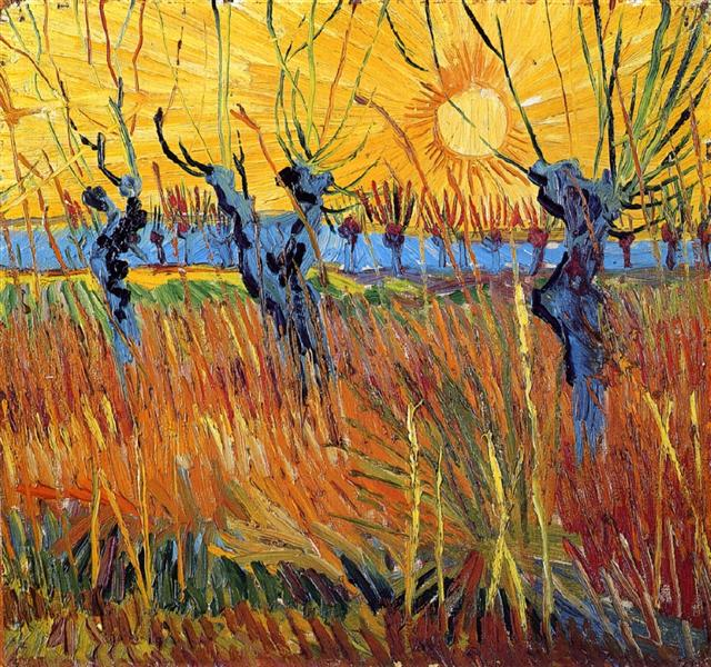 Pollard Willows and Setting Sun, 1888 - Vincent van Gogh