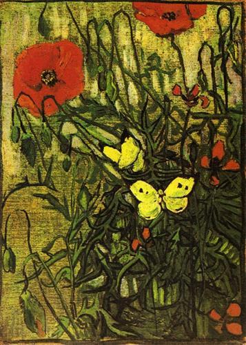 Poppies and Butterflies  - Vincent van Gogh