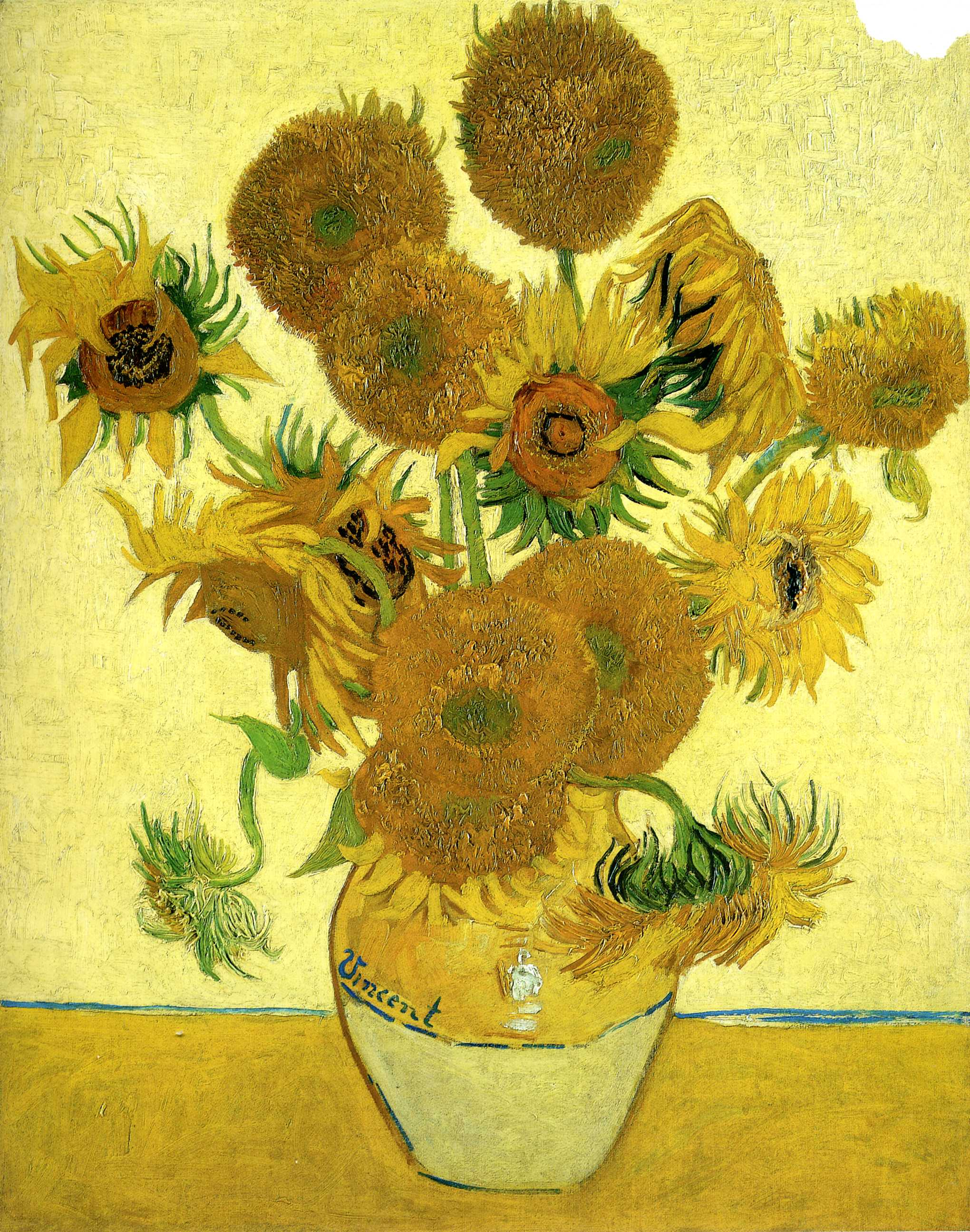 Still Life Vase with Fifteen Sunflowers 1888 Vincent van Gogh WikiArt