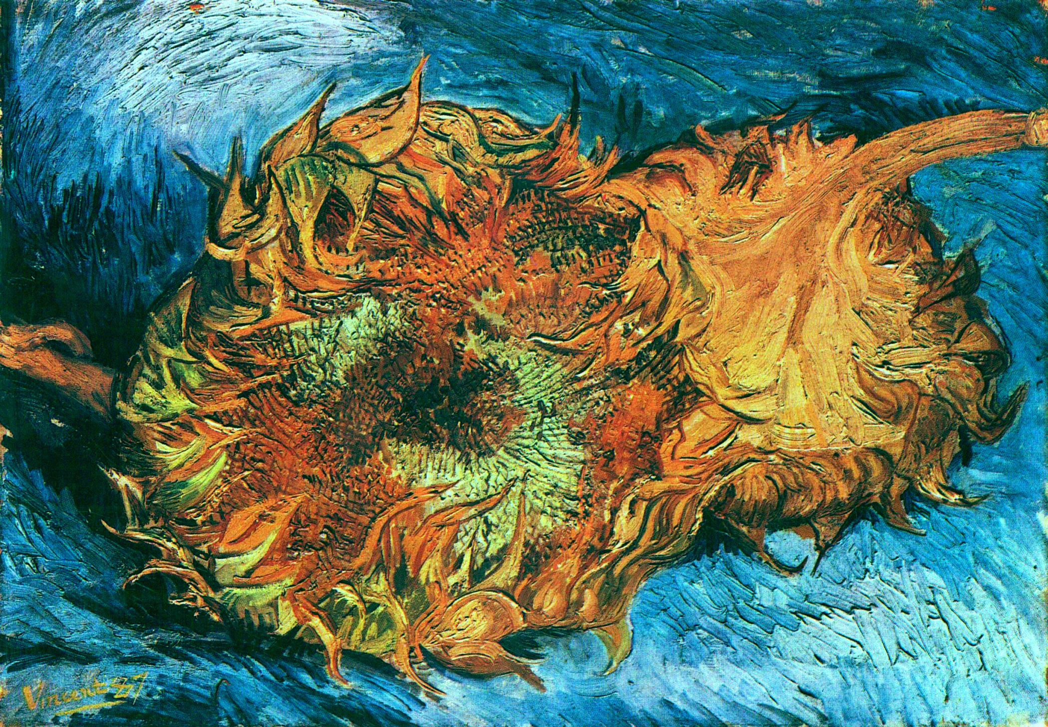 Still Life With Two Sunflowers 1887 Vincent Van Gogh