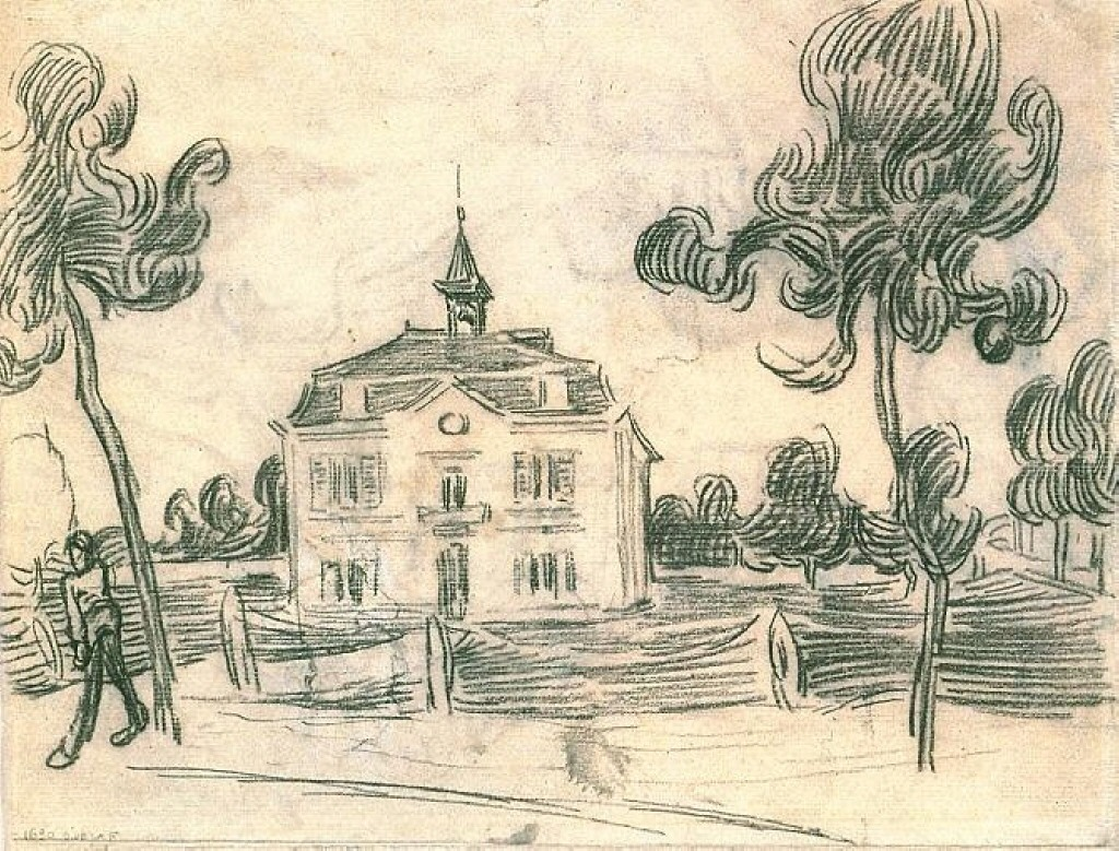 Line Drawing By Vincent Van Gogh : The town hall at auvers vincent van gogh wikiart