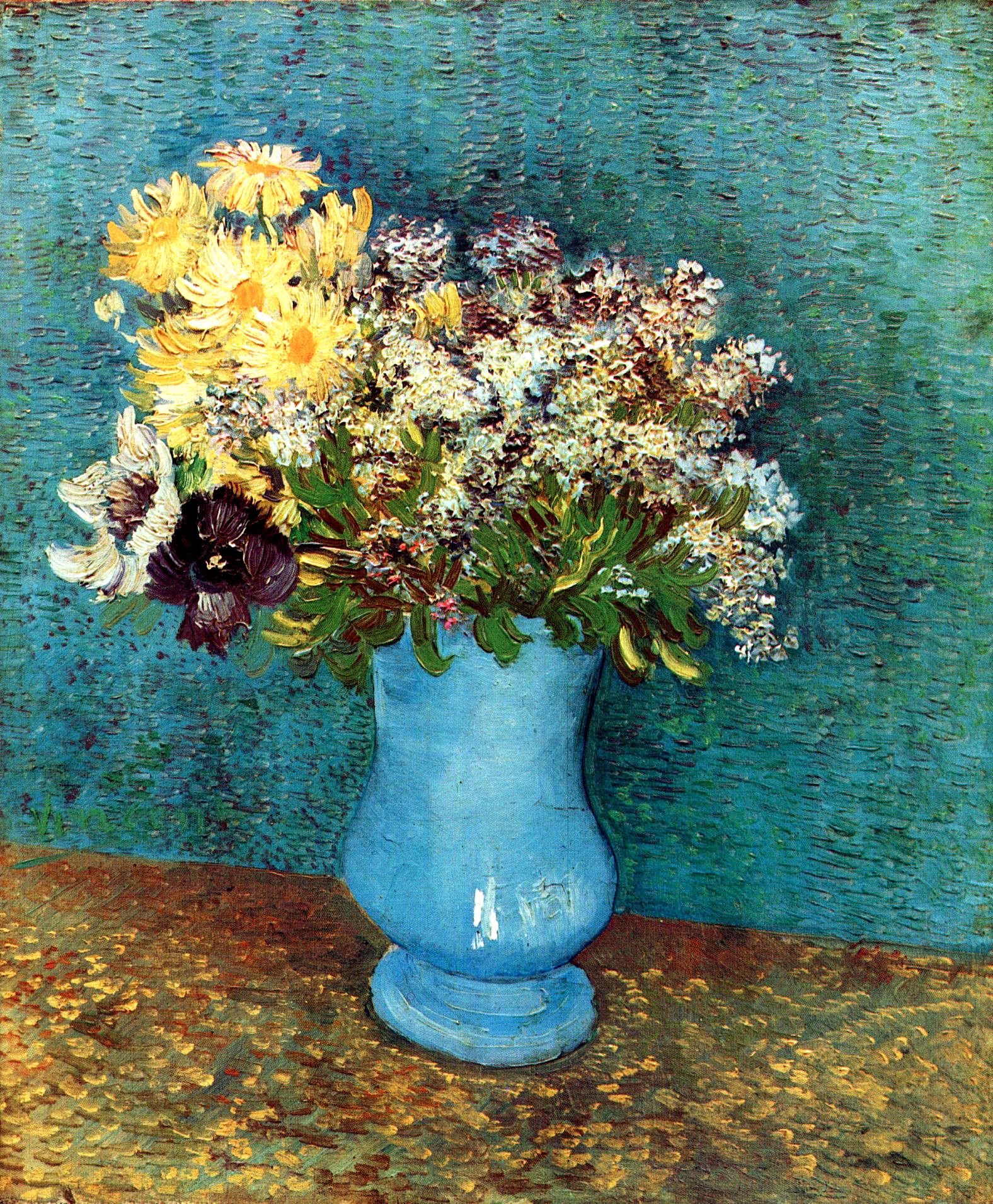 vase with flieder margerites und anemones 1887 vincent van gogh. Black Bedroom Furniture Sets. Home Design Ideas