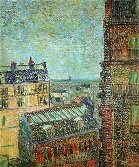 Vista de París del sitio de Vincent en la ruda Le, Vincent van Gogh