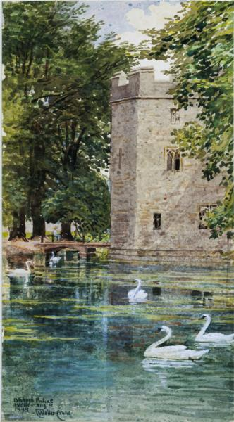 The Moat and Bishop's Palace, Wells Cathedral, 1893 - Walter Crane