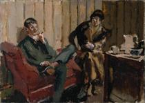 The Little Tea Party Nina Hamnett and Roald Kristian - Walter Sickert
