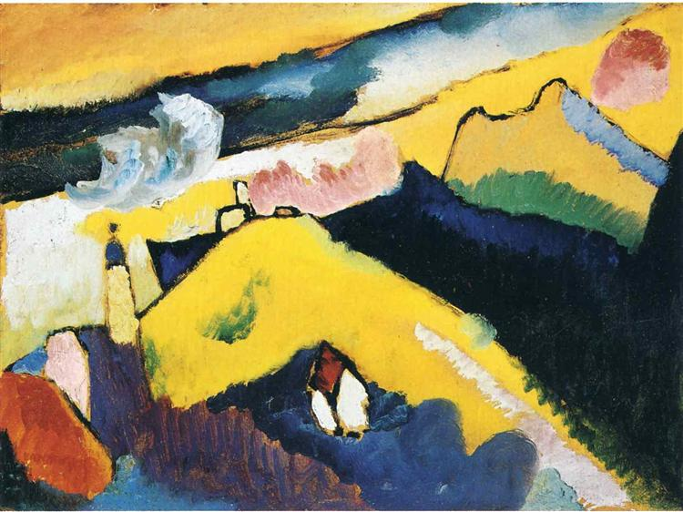 Mountain landscape with church, 1910 - Wassily Kandinsky