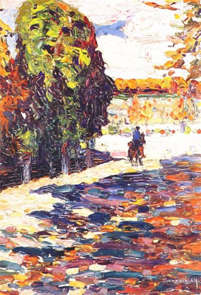 Park of St. Cloud with horseman, 1906 - Wassily Kandinsky