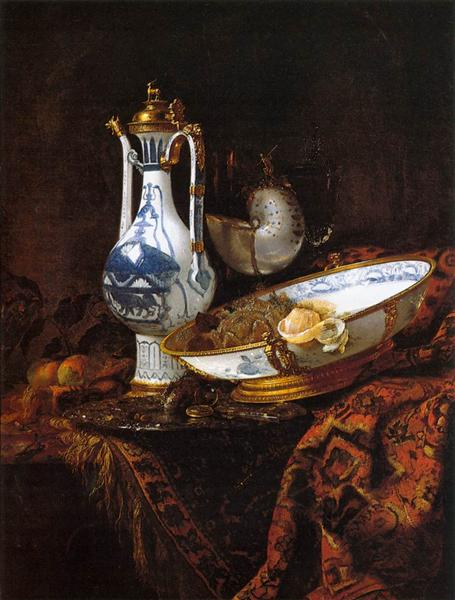 Still-Life with an Aquamanile, Fruit, and a Nautilus Cup - Willem Kalf