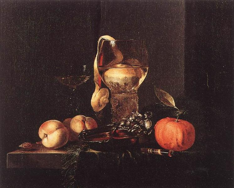 Still-Life with Silver Bowl, Glasses, and Fruit - Willem Kalf