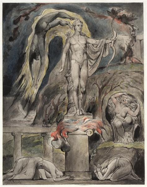 The Shrine of Apollo: Milton's Hymn on the Morning of Christ's Nativity, 1815 - William Blake
