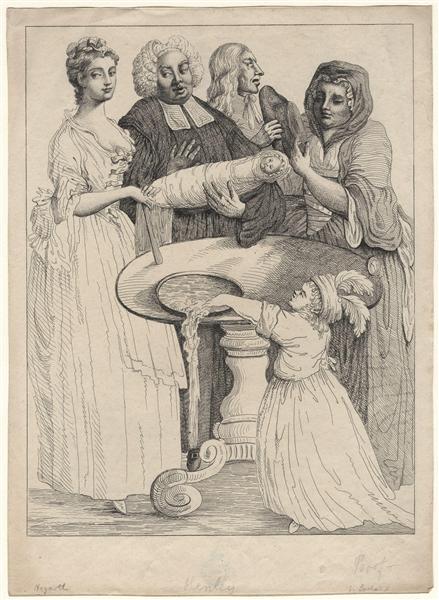 John Henley with five unknown figures - William Hogarth