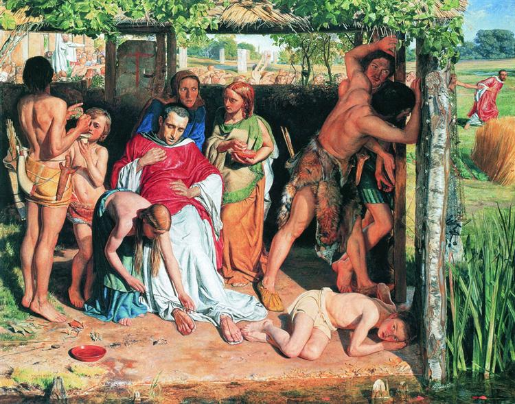 A Converted British Family Sheltering a Christian Priest from the Persecution of the Druids, 1850 - William Holman Hunt