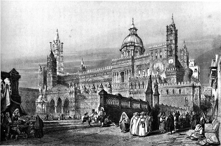 Palermo cathedral, drawing by Leitch, engraving by J.H. Le Keux, 1840 - William Leighton Leitch