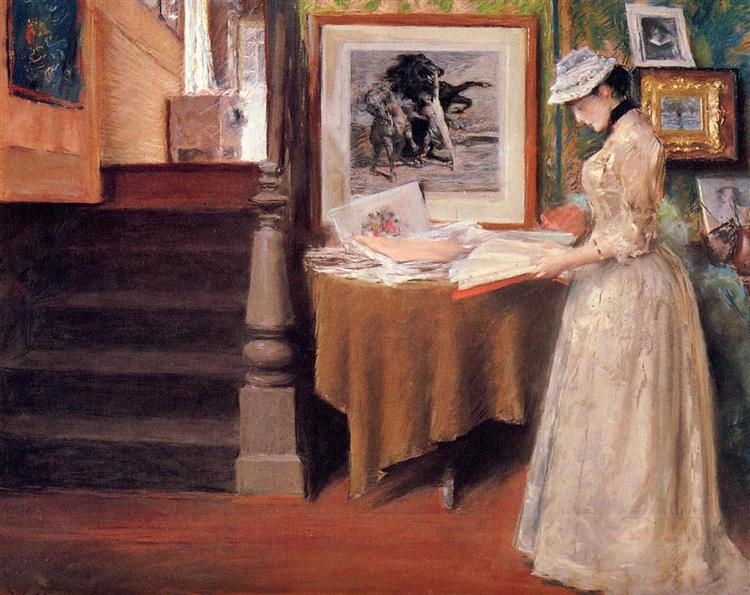 Interior, Young Woman at a Table, 1892 - William Merritt Chase
