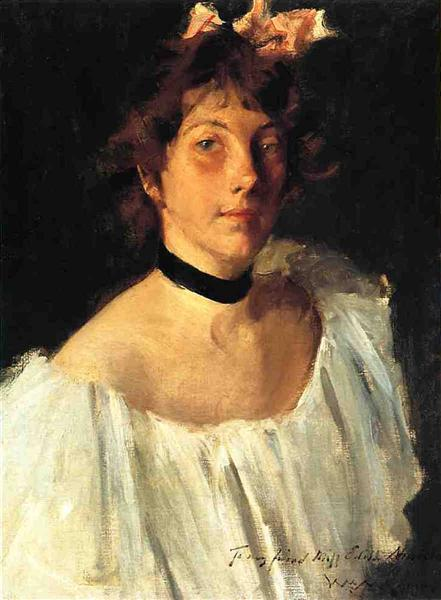 Portrait of a Lady in a White Dress (aka Miss Edith Newbold), 1892 - William Merritt Chase