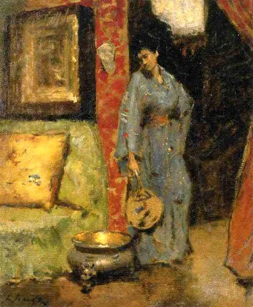 Woman in Kimono Holding a Japanese Fan - William Merritt Chase