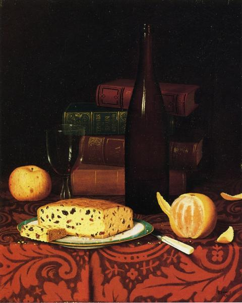 Still Life with Raisin Cake, Fruit and Wine, 1876 - William Michael Harnett