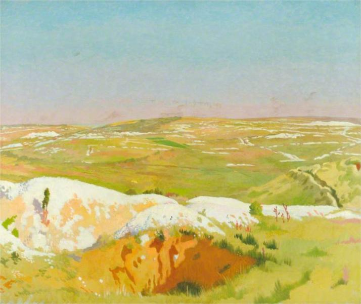 The Somme- A Clear Day; View from the British Trenches opposite La Boisselle, Showing the German Front Line and Mine Craters, 1917 - William Orpen