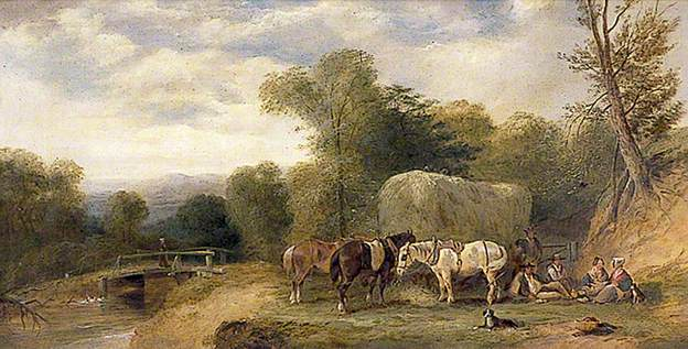 Carthorses and Rustics by a Stream, 1840 - William Shayer