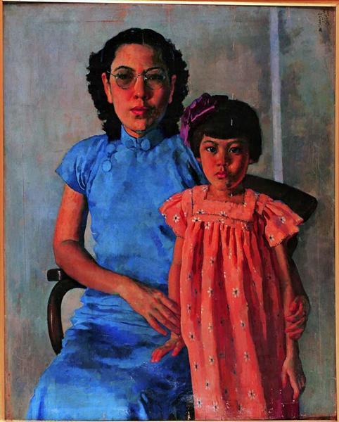 Portrait of Mrs Tchang Ju Chi and Daughter - Сюй Бейхун