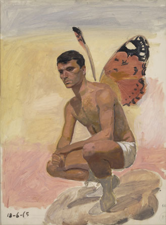 Man with butterfly wings , sitting, study from life, 1965 - Yiannis Tsaroychis